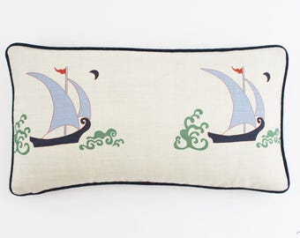 Katie Ridder Beetlecat Pillows with contrasting welting (shown in Lavender with Navy Welting)