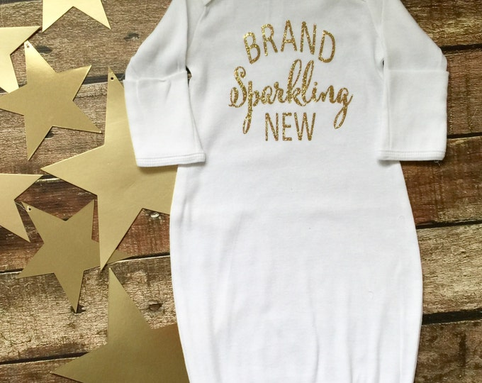 Custom Glittery Baby Gown, Baby gown, Bringing Home Baby Outfit, Baby Hospital Gown, Monogram Baby Gown, Baby Shower Gifts, Infant Layette