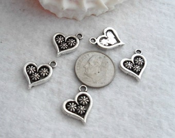 Pack of 10 Heart Charms, Antique Silver and Black  (1897)