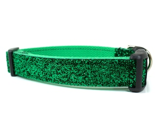 Emerald Glitter Dog Collar - Green Dog Collar - Glitter Collar - Sparkle Dog Collar - Girl Dog Collar - Boy Dog Collar - Holiday Dog Collar