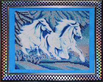 "Bead Embroidery Picture ""White horses"""