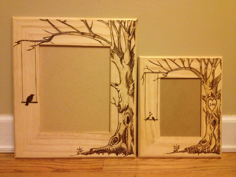 wood burned picture frame do custom orders too lovebirds. Black Bedroom Furniture Sets. Home Design Ideas