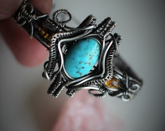 Turquoise and Citrine Oxidized Sterling Silver Wire Wrapped Cuff Bracelet