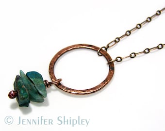 Hammered Copper Circle Necklace: Chrysocolla, Natural Healing Gemstone, Karma, Oxidized Nickel Free Hypoallergenic OOAK Hand-Forged Jewelry