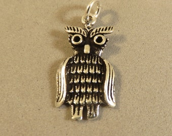 Sterling Silver 1 Sided Wise OWL Charm Pendant Bird Wings .925 Sterling Silver New bi46