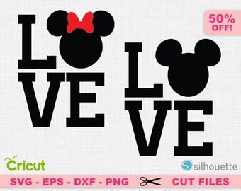 Love svg, Mickey svg, Disney love svg, Minnie svg, Love cricut, Love disney svg, Heart svg, Heart cricut, Disney SVG, Disney Cricut