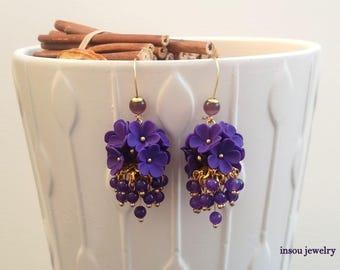 Purple Earrings, Chandelier Earrings, Statement Earrings, Dangle Earrings, Floral Earrings, Purple Jewelry, Wedding Earrings, Bridesmaid