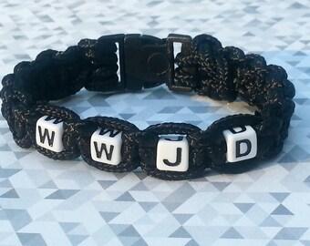 WWJD Bracelet, Paracord Bracelet, Custom  Paracord Bracelet,  Message Bracelet, Faith Inspirational Bracelet, Macrame Beaded Bracelet.