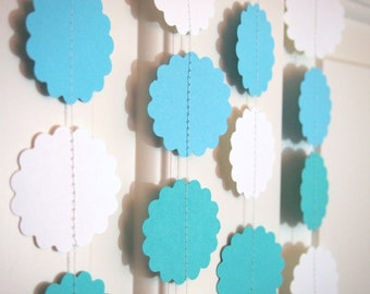 Teal/Aqua/White Paper Garlands for Party/Shower Decoration