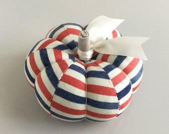 Cute Red White and Blue Striped Cotton Pumpkin Pincushion