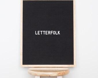 """16""""x20"""" Letter board w/ 290-characters — Black felt, light oak wood frame"""
