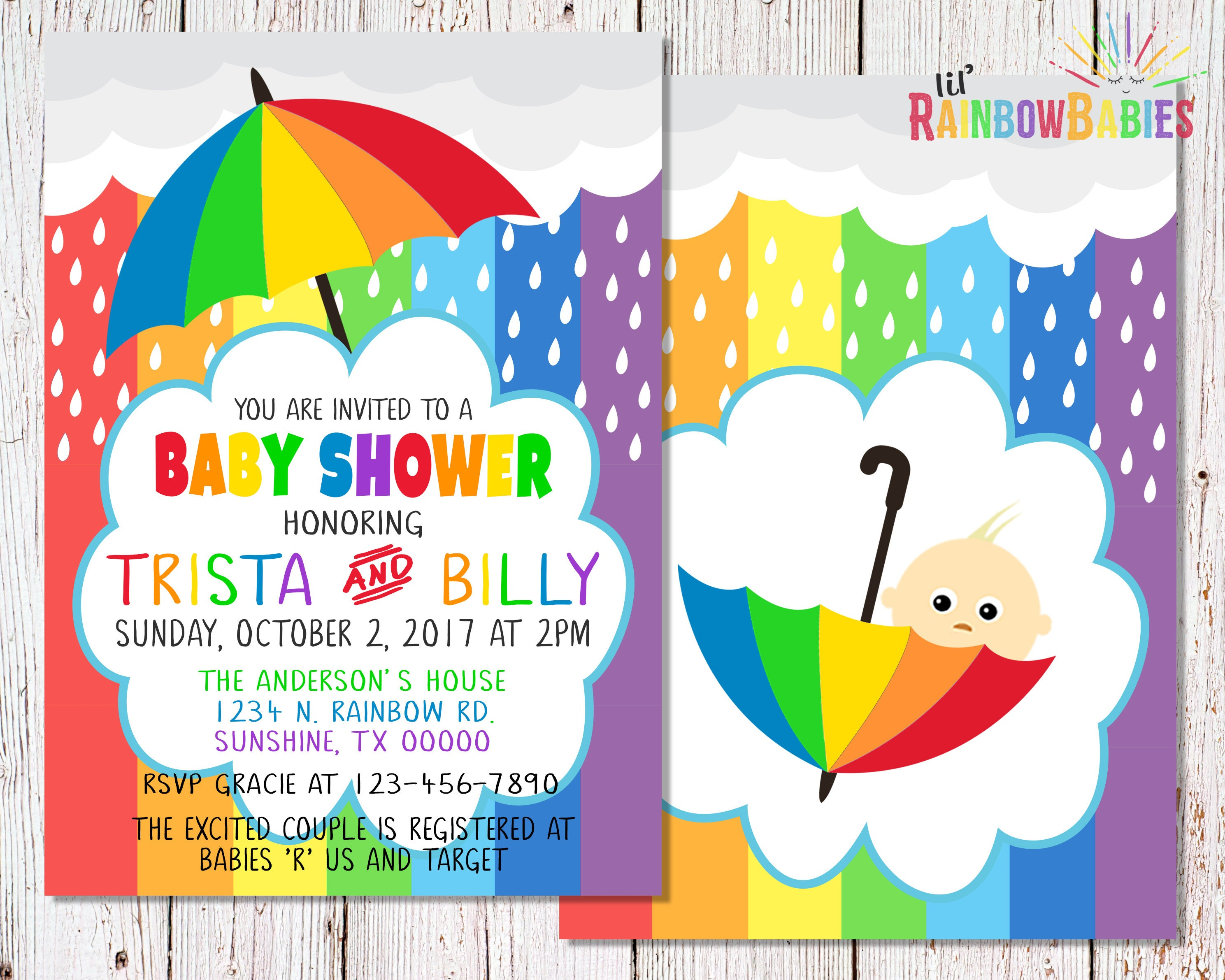 Rainbow Baby Shower Invitations PRINTABLE Baby Shower