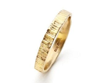 18 carat solid gold ring 3mm x 1.2mm,cool bride,wedding ring,rustic wedding,textured band,organic ring,stacking ring