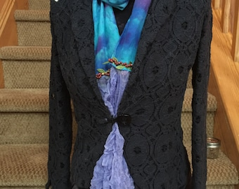 Berry Blue and Purple Scarf Boho Scarf Silk Scarf Hand dyed Scarf Tye Dye Scarf Gypsy Scarf Beaded Scarf Hippie Gypsy Yoga