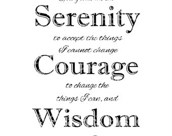 SVG - Serenity Prayer - friends of Bill W - AA Frame - Inspirational Prayer - Gift idea - Aa Anniversary