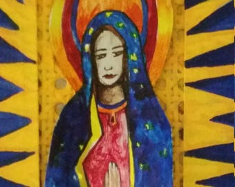 Metal Art Hand painted Enviro-ART Ceiling Fan Blade Lady of Guadalupe