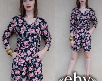 Vintage 90s Black Floral Shorts Suit Outfit S M Matching Set Floral Two Piece Set Two Piece Outfit Two Piece Suit Separates