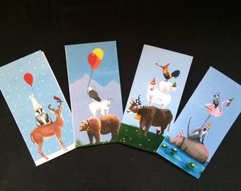 SALE!! Set of 4 Animal Tower Cards