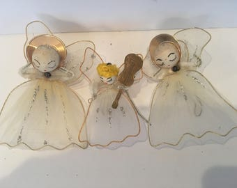 Vintage Mini Christmas Angels Ornaments - Set of 3 - Shabby Chic - Cottage Chic - Feather Tree decor - Christmas Decor