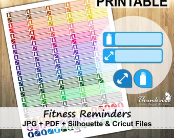 50% SALE, Fitness Reminders Printable Planner Stickers, Erin Condren Planner Stickers, Fitness Printable Stickers, Reminder - Cut Files