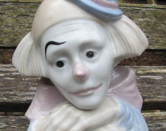 "Lovely Vintage Meico Paul Sebastian 6 1/2 Inch Clown head from ""Feelings"" Clown Figurine"