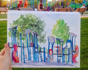 Watercolor and Ink Original Park Painting