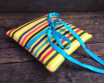 Ring Bearer Pillow - yellow Mini Cushion - Aztec nursery Decor - Mexican Wedding Decoration - Boho Tribal Home Decor - Rustic Bowl Filler
