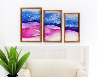 Set of 3 Miniature Artworks - Moonlit Desert Sands Triptych