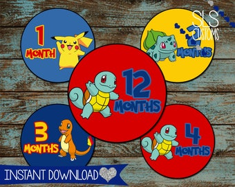 Pokemon Character (Pikachu, Squirtle, Bulbasaur, Charmander) Printable Monthly Baby Stickers! INSTANT DOWNLOAD!