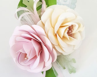 Wedding Corsages - Paper Flowers - Pink - Weddings - Bridal Shower - Baby Shower - Boutonniere - Large -  Made To Order