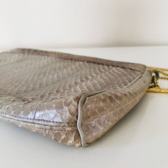 Vintage Gray Snakeskin Purse Silver Venetto Clutch Gold Chain Strap Zip Closure 70s Boho Chic