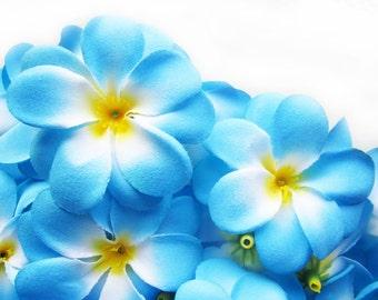 24 Blue Plumeria Frangipani Heads - Artificial Silk Flower - 3 inches - Wholesale Lot - for Wedding Work, Make Hair clips, headbands, hats