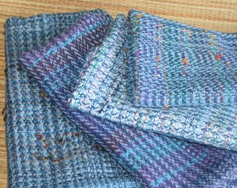 Eco-Friendly Cotton Hand Towel - Blue Handwoven Kitchen Towel - Blue and Multi-Color Woven Towel