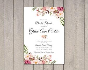 Floral Bridal Shower Invitation DIY (Printable) by Vintage Sweet