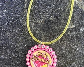 Pink Lemonade Rhinestone Bottlecap Necklace