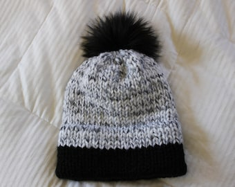 Double Brim Beanie, Hand knit hat with faux fur pom