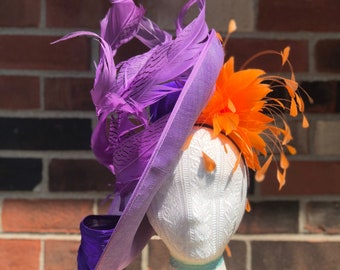 Lilac, Purple, Orange, Sinamay, Kentucky Derby Fascinator, Hatinator