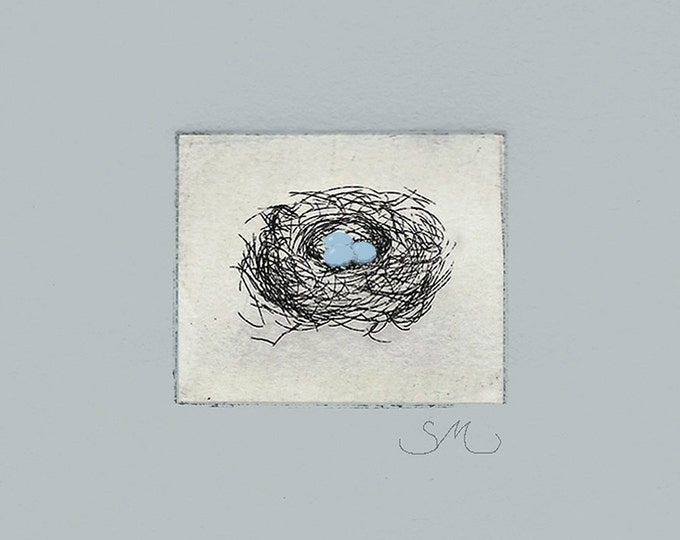 202  Robin's Nest With Three Eggs Etching Card | New Baby | Family