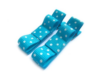 Turquoise Blue Hair Clips Blue Polka Dot Hair Clips Blue Tuxedo Bows Baby Girl Hair Clips Baby Hair Clips Blue Bows Polka Dot Bows Baby Bows