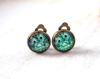 Pretty peacock clip earrings sweet lolita feminine