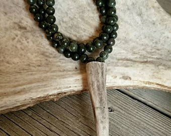 Green Beaded Antler Tip Necklace