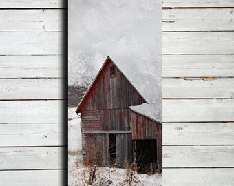 "Red Barn in Winter Snow - 20x60"" Canvas Print - Winter photography - Winter art - Large Winter art - Winter decor - Barn in snow"