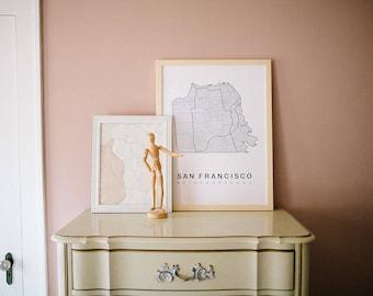 SAN FRANCISCO Map. Screen Print Poster. Neighborhood Map. Modern Home Decor Print. San Francisco California Art Poster. Multiple Colors.