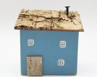 Little Blue Wooden House, Wooden Houses, Miniature House, Little Houses, Wood Houses, Miniature Wood House, Mini Houses, Wooden Cottage,