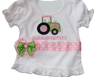 Personalized Tractor Girls Shirt, Embroidered Tractor Shirt, Monogrammed Tractor Shirt, Appliquéd Tractor Shirt, Birthday Tractor