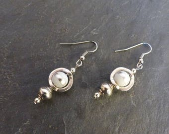 Earrings white and silver ♥ ♥
