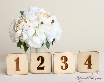 Wood Table Numbers Rustic Outdoor Wedding  (140304)