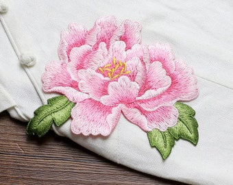Pink Flower Patches, Sew on Patches