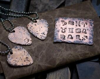 Guitar pick, bronze pick, zodiac pick, zodiac necklace, zodiac pendant, bronze necklace, rustic guitar pick, men's necklace
