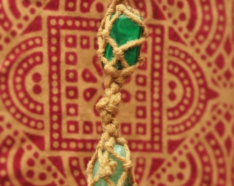 Amazonite & Malachite Healing Crystals Pendant Handmade Neutral